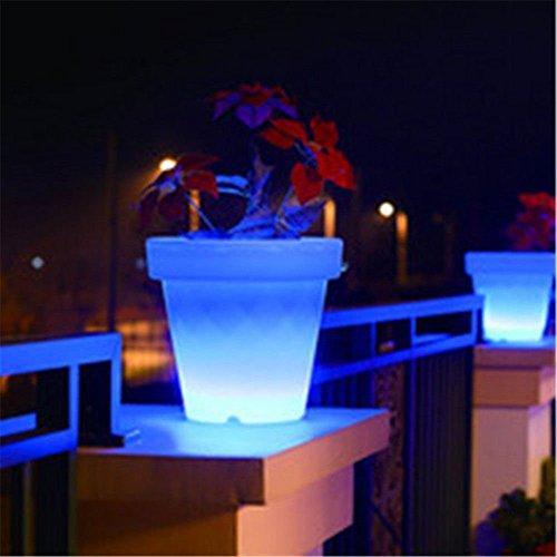 4PCS LED Leuchtmittel Rundes Tablett Blumentopf Farben Wechselhafte Luminous Flash Blumenkübel Übertopf Indoor Pflanztopf - 8