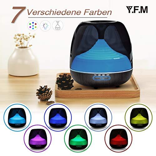 Aroma Öl Diffuser, Y.F.M Holzmaserung Aromatherapie-Maschine Diffusor mit 7 Farben LED Vernebler Duftlampe 500ml, Luftbefeuchter geeignet für Wohnzimmer, Schlafzimmer, Büro, Yoga, Spa und usw.
