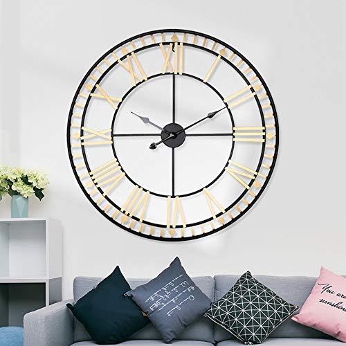 Wanduhr Wall Clocks Wanduhren 80cm große Metall dekorative römische Ziffern 3D-Skelett Stille Uhr für Küche, Schlafzimmer, Garten, Wohnzimmer, Arbeitszimmer, Büro Gold Gold Durchmesser: 34in)