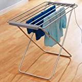 FISHTEC ® Wäscheständer, Elektrisch, 8 Stangen, 95 X 63 X 74 cm, Gebürstetes Aluminium - 2