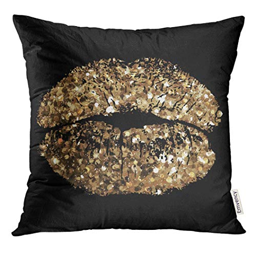 Trsdshorts Throw Pillow Cover Glam of Kiss with Gold Shimmer Sequin Decorative Pillow Case Home Decor Square 18x18 Inches Pillowcase