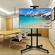 حامل تلفزيون مقاس 32 بوصة حتى 70 بوصة، عجلات مع كسر، قابلة للطي، لون اسود، لتلفزيونات LED/LCD، رف كاميرا ورف م