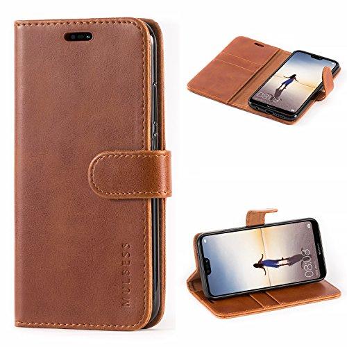 Huawei P20 Lite Hülle,Mulbess Premium Handy Schutzhülle Ledertasche im Kartenfach für Huawei P20 Lite Tasche Hülle Leder Etui Schale,Braun (Vintage Style)