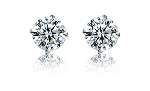 WHCREAT Classique Sparkly 925 Sterling Silver Boucles d'oreilles pour les femmes, 5A Cubic Zirconia Earrings pour femme / amie / Daughter