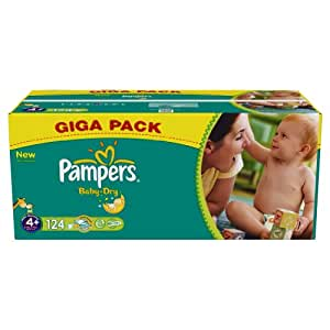 Pampers Baby Dry Nappies, Size 4+ (Total 124 Nappies)