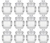 STAR-LINE® 12 Vorratsdosen Glas Gewürzdosen Bonboniere Geriffelt Bonbonglas 80ml Vorratsglas Vorratsbehälter für Aufbewahrung von Zutaten & Gewürzen