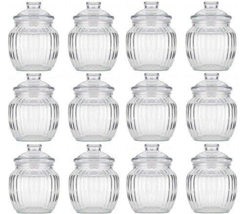 12 Vorratsdosen Glas Gewürzdosen Bonboniere Geriffelt Bonbonglas 80ml Vorratsglas Vorratsbehälter für Aufbewahrung von Zutaten & Gewürzen