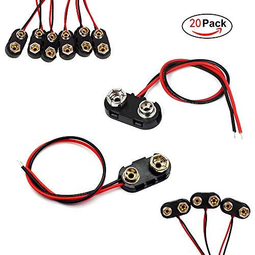 FUJIE 20 Pezzi Connettori per Batterie 9V I e T Tipo Connettore Clip per Batteria con Cavi, Alloggiamento in Plast