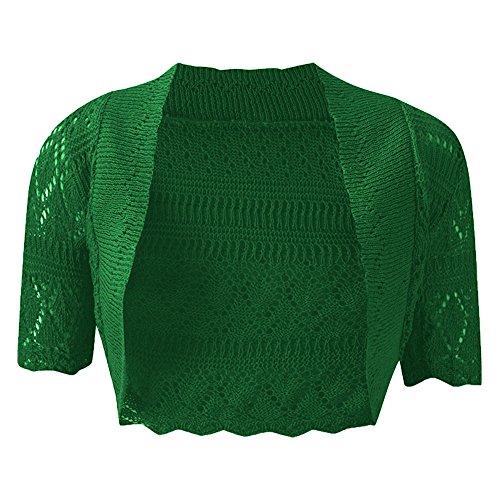 Nuovo da donna lavorato a maglia bolero cardigan uncinetto Coprispalle aperta manica corta Plus taglia UK8 – 22 Giada verde