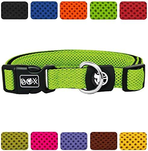 DDOXX Hundehalsband Air Mesh | für große, mittelgroße, mittlere & kleine Hunde | Halsband Hund | Hundehalsbänder | Katzen Halsbänder | Katzenhalsband | Zubehör | Grün, XS - 1,5 x - Air-mesh-gewebe