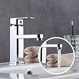 Waschtisch Einhebelmischer Waschtischarmatur Chrom Wasserhahn Bad Spültisch Küche Waschbecken Armatur Kaltes und Heißes Wasser Vorhanden