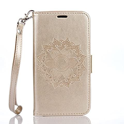 Samsung Galaxy J3 Case, Samsung Galaxy J3 Case Cover - Cozy Hut Retro Mandala flower Design PU Leather Notebook Design Flip Cover Folio Inlaid Inner Soft TPU Case with [Built Stand] [Magnetic Closure] [Card Slot] and [Wallet Function] Cute Fanny Protective Cover Skin For Samsung Galaxy J3 5,0 inch -