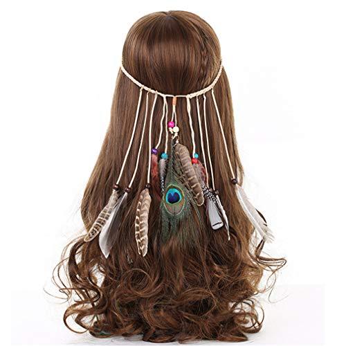 Stirnbänder für Frauen indische Federn Stirnband Mode Boho Mädchen Festival Perlen Gypsy Feder Haarschmuck ()