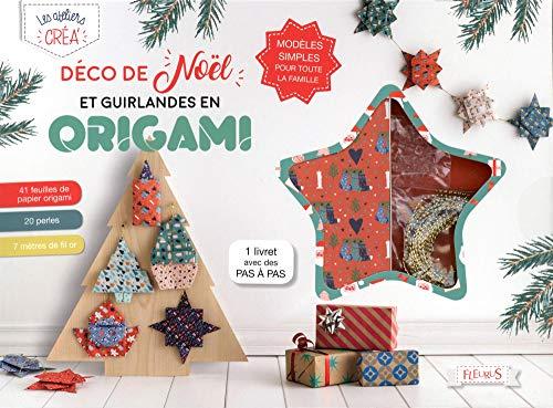 Déco de Noël et guirlandes en origami : Avec 41 feuilles de papier origami, 20 perles, 7 mètres de fil or