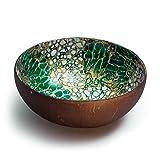 Cocobowl Orient - Kokosnuss Schale / Dekoschale (weiss/gold/gruen)