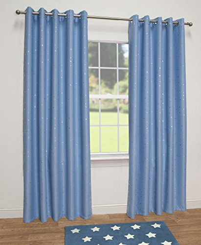 "Stars Thermal Blackout Ready Made Eyelet Curtains (Blue, 90"" Wide x 72"" Drop)"