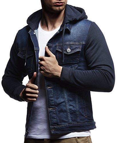 LEIF NELSON Herren Sweat-Jacke Denim | Vintage Jeans-Jacke für Männer mit Kapuze Slim-Fit Langarm | Freizeit Hoodie verwaschen, Casual