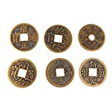 059184a8ff MagiDeal Set di 6 Moneta Feng Shui 1.65 '' Moneta di Fortuna Dell'ottone