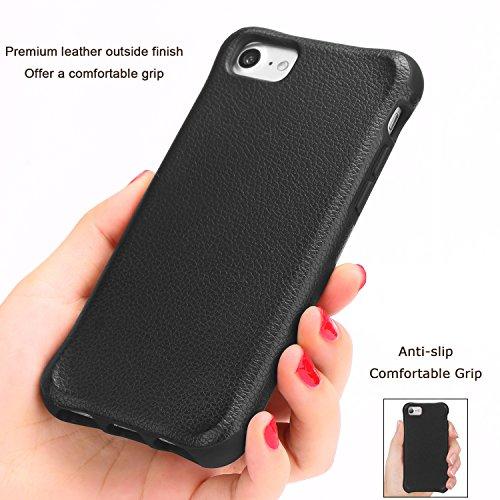 TENDLIN Coque iPhone 7 Plus Cuir et Flexible TPU Silicone Hybride Souple Housse Etui Résistant aux Chutes et Chocs Marron Clair Noir