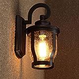 Oudan Wandleuchte E27 Retro Außenwand Wasserdicht Lampe & Kreative Lichter Garten Balkon Außentreppe Wandleuchte (Farbe: Schwarz) (Farbe : Schwarz)
