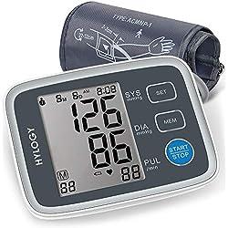 HYLOGY Tensiómetros de Brazo, modo para dos usuarios y pantalla grande, medición con presionar un solo botón
