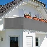 SZJH Balcón visibilidad, protección UV, opaco, resistente a la intemperie, cubierta de balcón con bridas de cable; L: 42 x Al: 91 cm