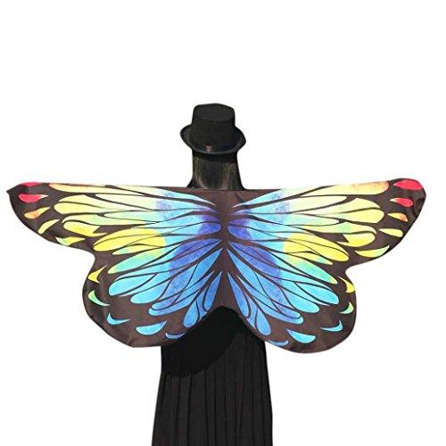 Beikoard Damen Schmetterlings Kostüm, Frauen 145 * 65CM Weiche Gewebe Schmetterlings Flügel Schal feenhafte Damen Nymphe Pixie Kostüm Halloween Partei Cosplay Accessoire (Gelb 3)