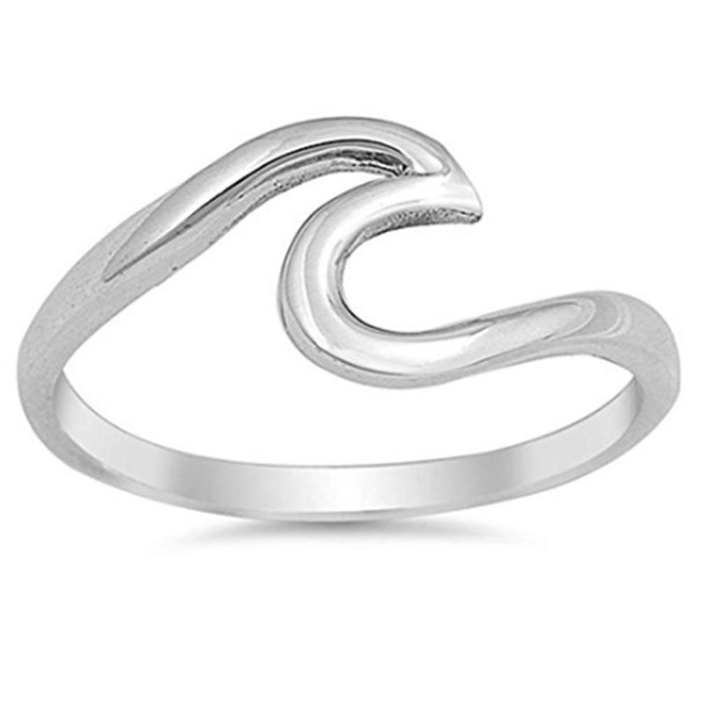 QIANDI Beach Wave Ring Handmade Wire Wrap Surf Rings for Women Stainless Steel Island Jewelry Birthday Party Gifts