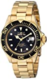 Invicta Pro Diver Unisex Quartz Watch with Black Dial  Analogue display on Gold Plated Bracelet 9311