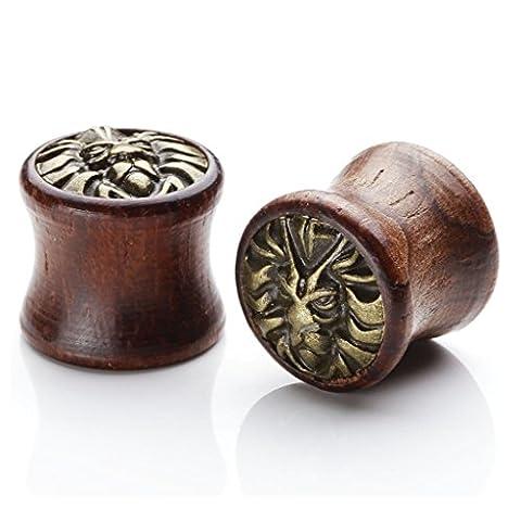 JOVIVI Pair Sono Wood & Brass Lion Head Saddle Plugs