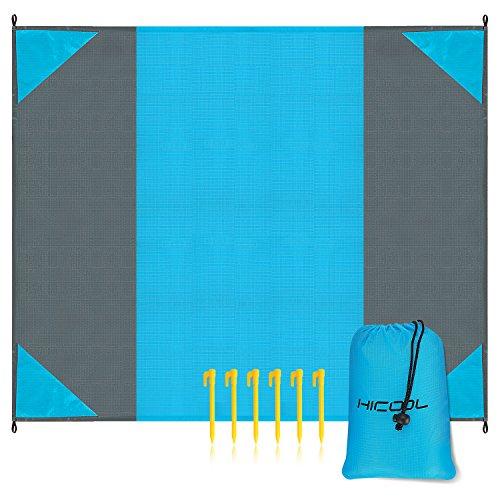 Hicool Picknickdecke 275 × 213 cm XXL Stranddecke Picknickmatte Campingdecke Outdoordecke Strandliege mit Tasche und 6 Heringen Ultraleicht Wasserdicht Sandfrei