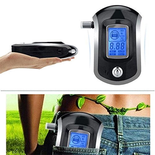 Swiftswan Alkoholtester Professioneller Digital Breathalyzer Breath Analyzer mit LCD (Farbe: Schwarz, Silber)