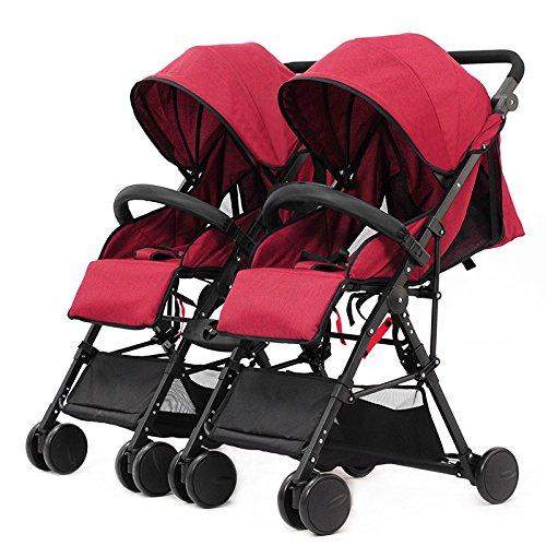 YIHANGG Zwillings-Kinderwagen 2 In 1 Kinderwagen Kinderwagen Kinderwagen Twin Luxus Reversible Kleinkind Kinderwagen Für 0-3 Jahre Alt Außen Jogger Reise Bearing 15kg,Red