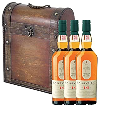 3 x Lagavulin 16 Year Old Single Malt Whisky 70cl Bottles in Antique Style Gift Box with Hand Crafted Gifts2Drink Tag