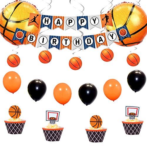 JOYMEMO Basketball-Party-Dekorationen enthalten Hanging Swirl, Happy Birthday Banner und Folienballons