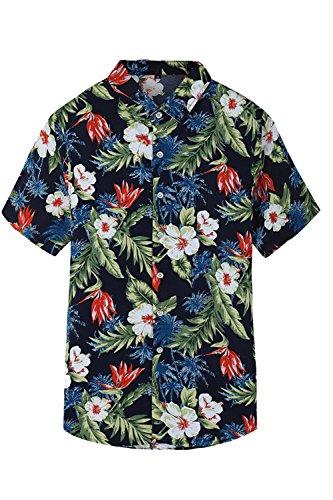 Jumojufol-Los-Hombres-De-La-Playa-De-Causal-Tropcial-Floral-Print-Botn-Abajo-Camisa-Hawaiana-Black-XL