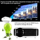 Yaufey 2200 Lúmenes Mini LED Proyector con HDMI cable, Apoya el Numero de 16.77 Millones de Colores, Conveniente Para La Noche de Película de Los Miembros de La Familia de Interior y al Aire Libre, Blanco