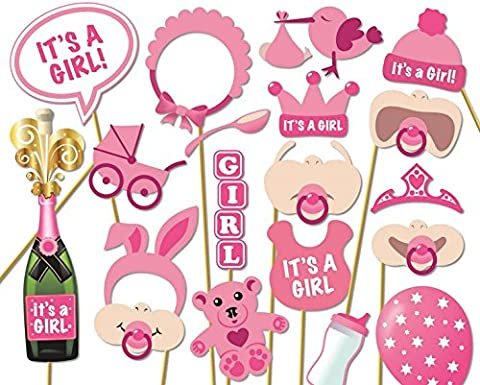 Veewon Baby Shower Photo Props masques de biberon Rose photobooth Props pour nouveau-né fille Cadeau Décorations de fête, Lot de 20