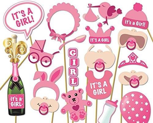 8b91b9dc7ba2e Veewon - Lot de 20 accessoires photo pour fête prénatale - Articles de  décoration roses pour