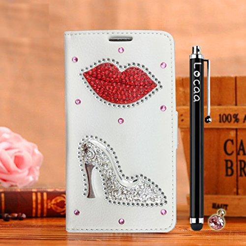 Locaa(TM) Pour Apple IPhone 6 IPhone6 4.7 inch 3D Bling Case Coque Étui Cadeaux Fait Cuir Qualité Housse Chocs Couverture Protection Cover Shell Etui Romantique [Couleur 1] Rose - Fleur ange Blanc - Lèvres