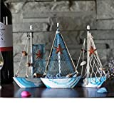 KESOTO 3 Stück Holz Segelschiff Deko Maritim Dekoartikel MEER Schiff Boot - 8