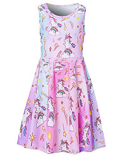 Fanient Festliche Mädchen Kleider Unicorn Kleid Funky Mädchen Cute Sleeveless Kleid Rundhals Lässige Party Sommerkleid 4-5 Jahre