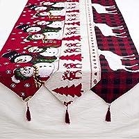 Aboygo Nappe de Noël Noel Table Decoration Rectangulaire Polyester décoration dîner de Noël Xmas Party Bonhomme de Neige 180 * 35cm/70.87 * 13.8inch
