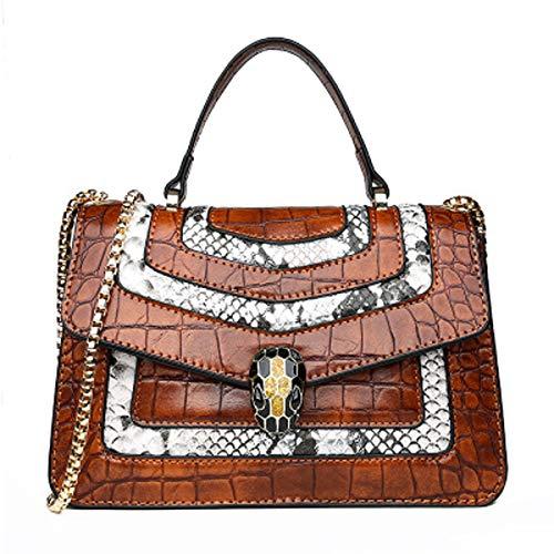 Snake-print Handtasche Leder kleine quadratische Tasche Mode Goldkette Schulter Messenger Bag Damentasche (braun, 22 * 9 * 14cm)