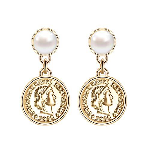 Elegante Münze Damen Tropfen Ohrringe, Porträt und Wulst Dekoration Ohrringe
