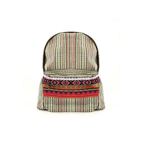 For Time Mochila étnica de chica Inca - Zaini Donna, Verde (Multi Verde), 13x39x37 cm (W x H L)
