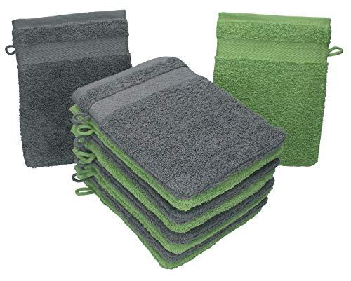 Betz 10 Stück Waschhandschuhe Premium 100% Baumwolle Waschlappen Set 16x21 cm Farbe anthrazit und apfelgrün - Grüne Waschlappen