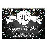 Große XXL Design Glückwunsch-Karte zum 40. Geburtstag mit Umschlag/DIN A4/Tafel-Look Konfetti/Grußkarte/Geburtstagskarte/Happy Birthday