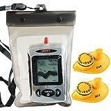Lucky FFW-718 Wireless wasserdicht Portable Sonar Fish Finder mit Punkt Matrix 40m Reichweite (w/ extra 2 sensors)
