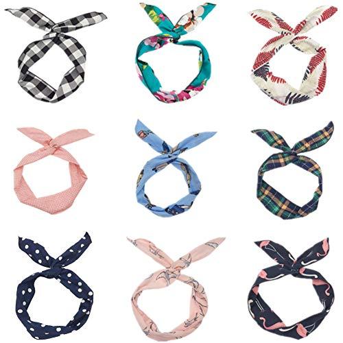 9 Stück Biegbares Haarband Bunny Ohr Binden Bow Stirnband Twist Bow Wired Stirnbänder für Damen